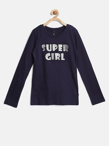 United Colors of Benetton Girls Purple Sequinned Text Top at myntra