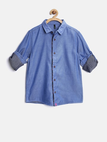 United Colors of Benetton Boys Blue Solid Shirt at myntra