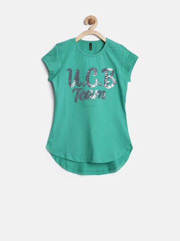 United Colors of Benetton Girls Green Sequinned Top at myntra