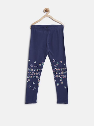 United Colors of Benetton Girls Navy Floral Print Leggings at myntra