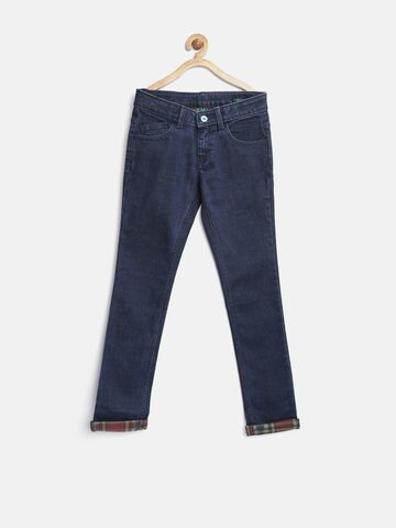 United Colors of Benetton Boys Navy Regular Fit Mid Rise Clean Look Jeans at myntra