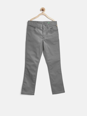 United Colors of Benetton Boys Grey Solid Regular Fit Flat-Front Trousers at myntra