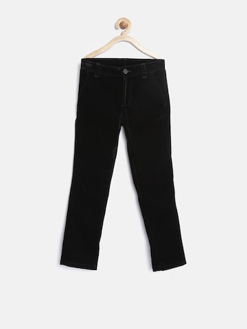 United Colors of Benetton Boys Black Solid Regular Fit Flat-Front Trousers at myntra
