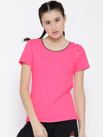 Reebok Women Neon Pink SE PD Core 2 Solid Round Neck Slim-Fit Training T-Shirt at myntra