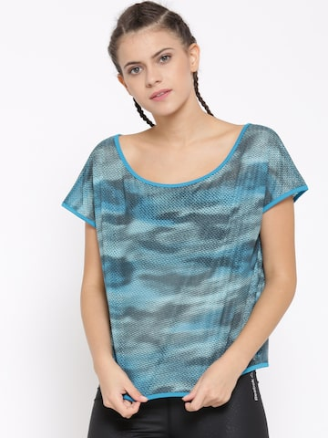 Reebok Women Blue WOR CAMO MESH Self-Design Round Neck Training T-shirt at myntra