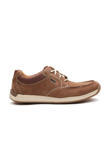 Clarks Men Brown Leather Solid Regular Sneakers  at myntra
