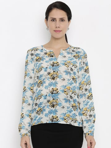 Van Heusen Woman Women White Printed Casual Shirt at myntra