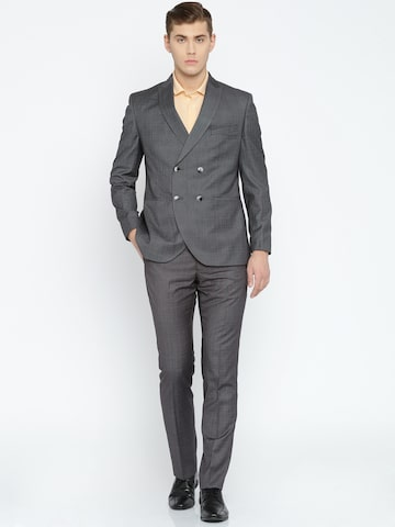Park Avenue Grey Checked Super-Slim Fit Formal Suit at myntra