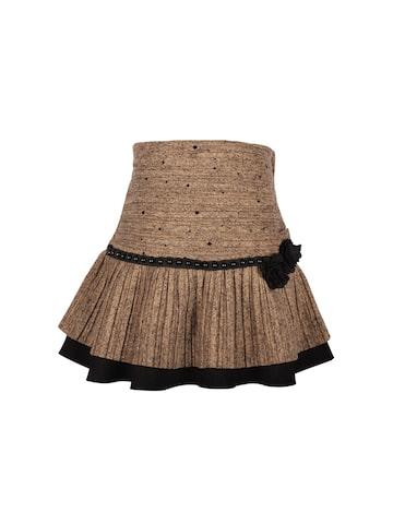 CUTECUMBER Girls Brown Embellished A-Line Skirt at myntra
