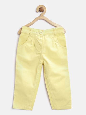Baby League Girls Yellow Solid Flat-Front Trousers at myntra