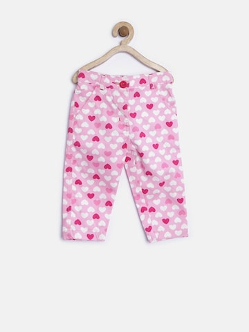 Baby League Girls Pink Printed Regular Fit Flat-Front Trousers at myntra