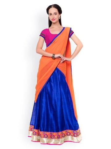 Triveni Blue & Pink Raw Silk Semi-Stitched Lehenga Choli with Dupatta at myntra