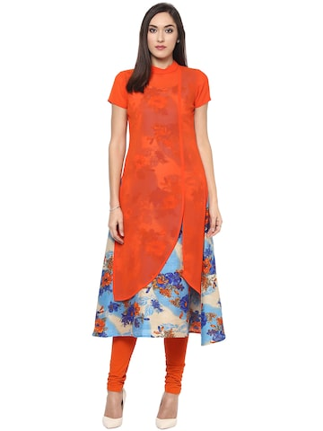 Libas Women Orange & Blue Georgette Printed Layered A-Line Kurta at myntra