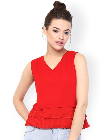 Miss Chase Women Red Solid Regular Top at myntra
