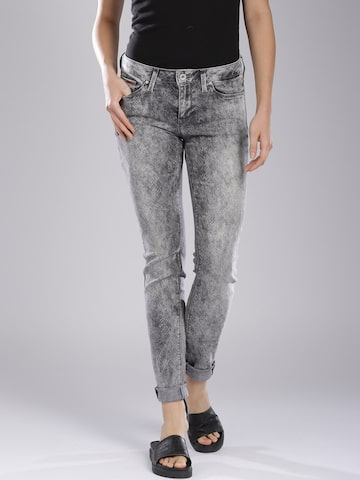 Tommy Hilfiger Women Grey Skinny Fit Mid-Rise Clean Look Jeans at myntra