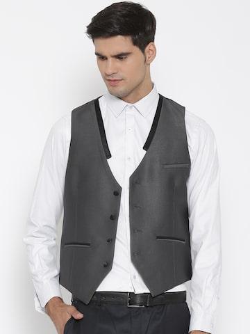 V Dot Grey & Black Slim Waistcoat at myntra