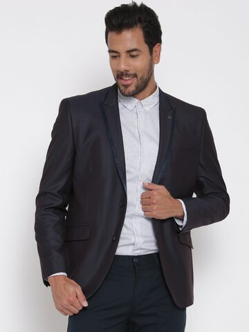 V Dot Navy Single-Breasted Dual-Toned Skinny Formal Blazer at myntra