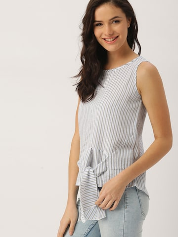 DressBerry Women Blue & White Striped Top at myntra