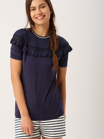 DressBerry Women Navy Solid Top at myntra