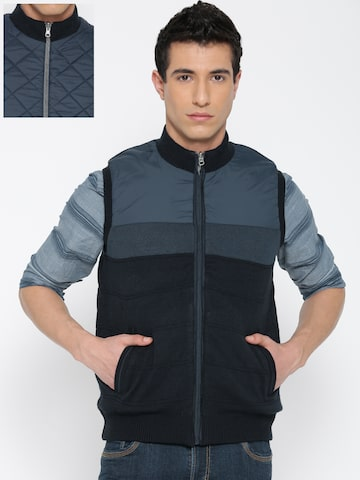 Flying Machine Navy Sleeveless Reversible Bomber Jacket at myntra