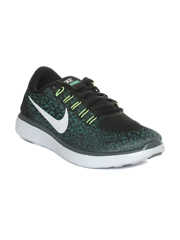 Nike Men Black & Green Free RN Distance Running Shoes at myntra