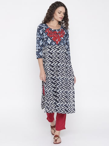 Anouk Women Navy Printed A-Line Kurta at myntra
