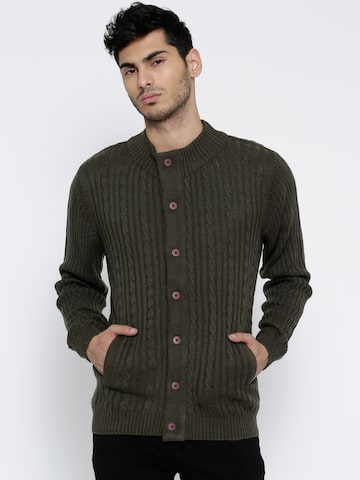 Wills Lifestyle Men Olive Green Cable Knit Cardigan at myntra