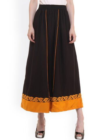 Ruhaans Black Maxi Skirt with Embroidered Detail at myntra