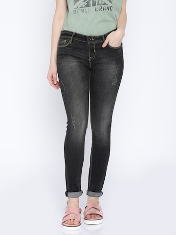 Pepe Jeans Women Charcoal Grey Regular Fit Mid-Rise Mildly Distressed Jeans at myntra