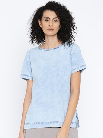 Pepe Jeans Women Blue Denim Solid Regular Top at myntra