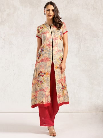 Anouk Women Beige Printed Straight Kurta at myntra