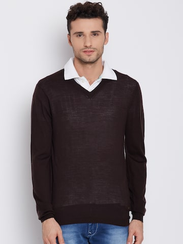 Blackberrys Men Brown Wollen Semi-Sheer Solid Sweater at myntra