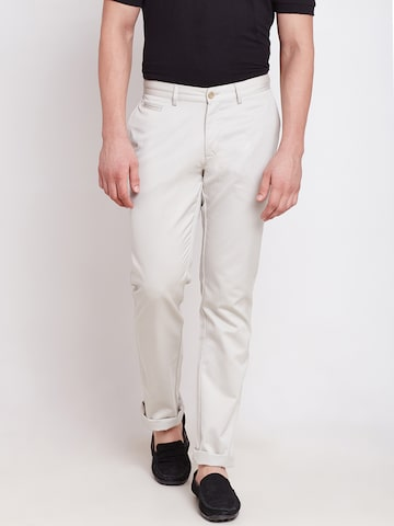 Blackberrys Off-White Sharp Fit Casual Trousers at myntra