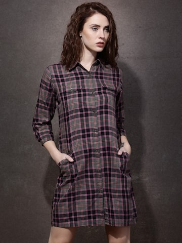 Roadster Women Black & Pink Checked Shirt Dress at myntra