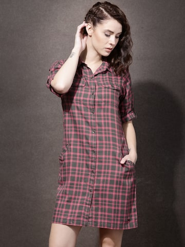 Roadster Women Grey & Pink Checked Shirt Dress at myntra