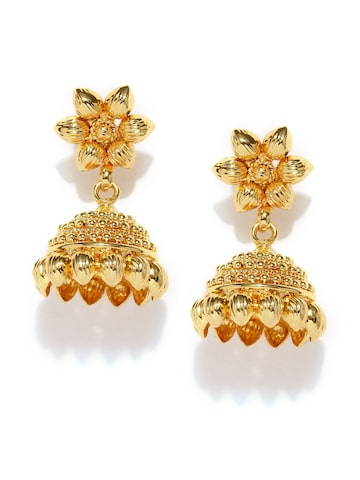 Fida Gold-Toned Floral Jhumka Earrings at myntra