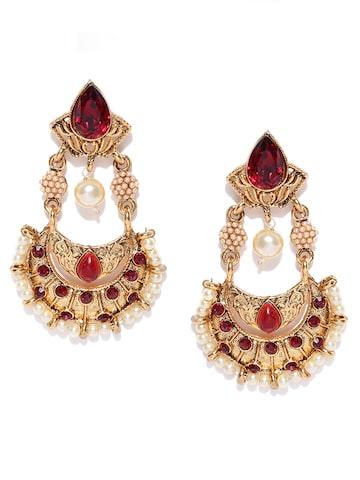 Fida Bronze-Toned & Maroon Stone-Studded Drop Earrings at myntra