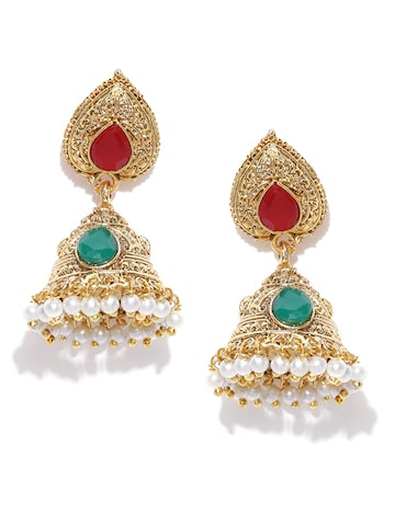 Fida Gold-Toned Stone-Studded Jhumka Earrings at myntra