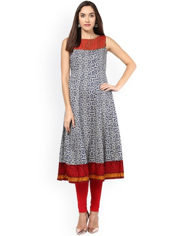 Libas Women Blue Printed Anarkali Kurta at myntra