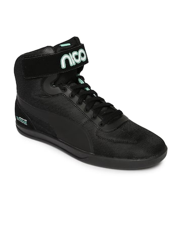 Puma Men Black Mercedes AMG Petronas Upole Nico High-Tops Sneakers at myntra