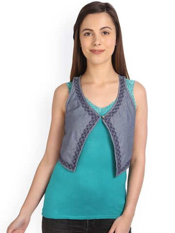 Kraus Jeans Grey Embroidered Crop Shrug at myntra