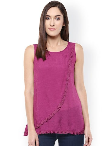Raindrops Women Purple Solid Layered Top at myntra
