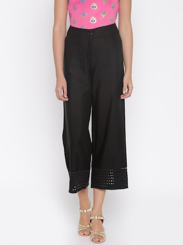 Global Desi Women Black Solid Palazzos at myntra