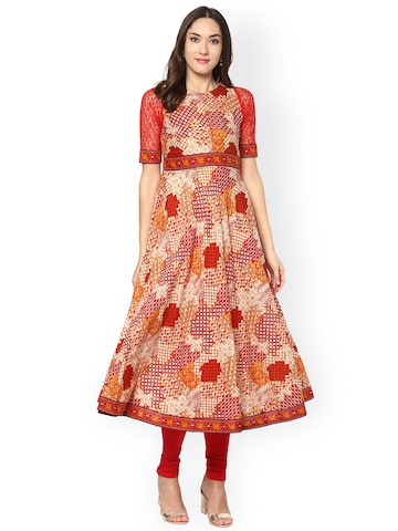 Libas Women Beige Printed Anarkali Kurta at myntra