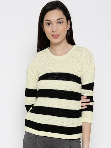 WIlls Lifestyle Cream-Coloured & Black Striped Sweater at myntra