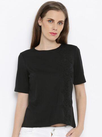 Vero Moda Women Black Solid Regular Top at myntra