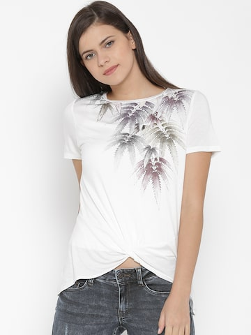 Vero Moda Women Off-White Printed Top at myntra