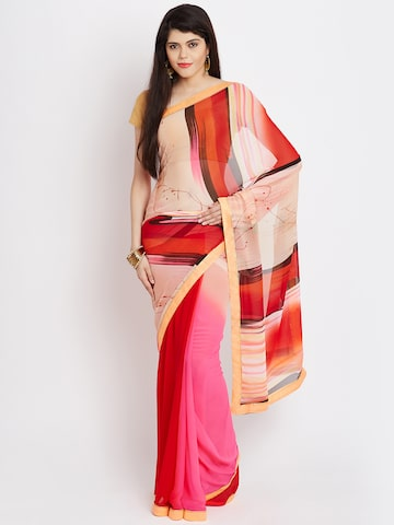 Jashn Peach-Coloured & Pink Georgette Printed Saree at myntra