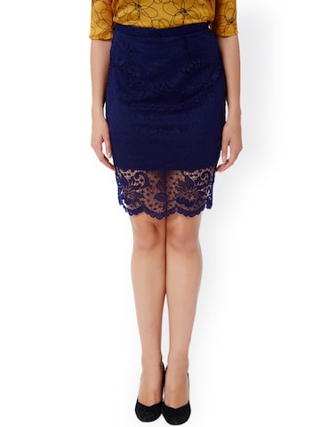 Avirate Blue Lace Pencil Skirt at myntra