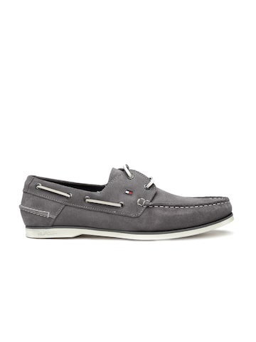 Tommy Hilfiger Men Grey Suede Boat Shoes at myntra